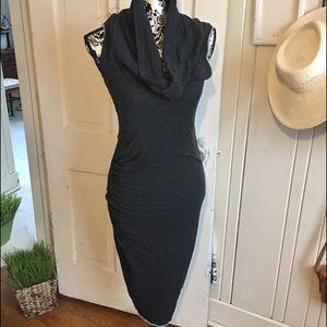 James Perse cowlneck cotton blend tee dress -2